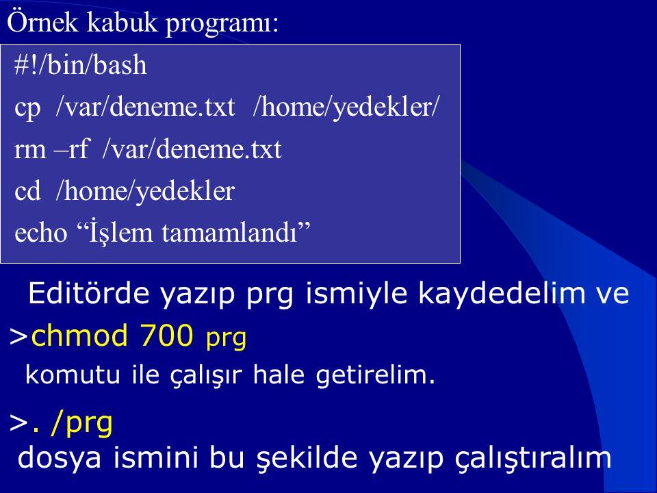 """Örnek kabuk programı: #!/bin/bash cp /var/deneme.txt /home/yedekler/ rm –rf /var/deneme.txt cd /home/yedekler echo """"İşlem tamamlandı"""" Editörde yazıp p"""