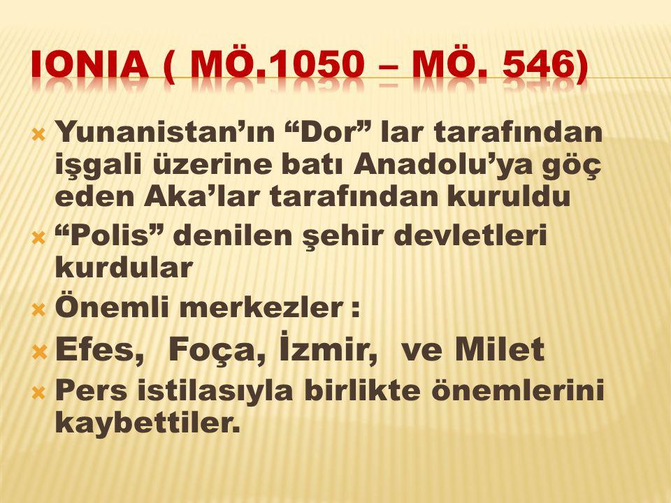 """ Yunanistan'ın """"Dor"""" lar tarafından işgali üzerine batı Anadolu'ya göç eden Aka'lar tarafından kuruldu  """"Polis"""" denilen şehir devletleri kurdular """