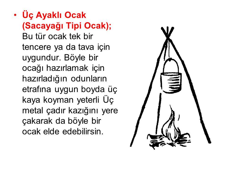 •Üç Ayaklı Ocak (Sacayağı Tipi Ocak); Bu tür ocak tek bir tencere ya da tava için uygundur. Böyle bir ocağı hazırlamak için hazırladığın odunların etr