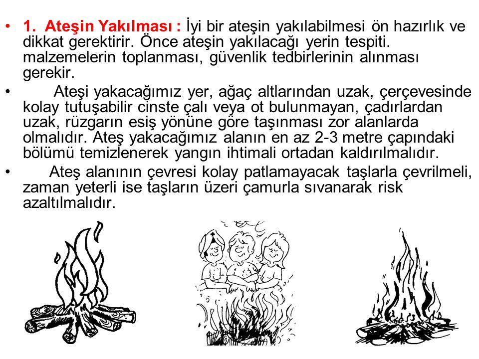 •1. Ateşin Yakılması : İyi bir ateşin yakılabilmesi ön hazırlık ve dikkat gerektirir. Önce ateşin yakılacağı yerin tespiti. malzemelerin toplanması, g