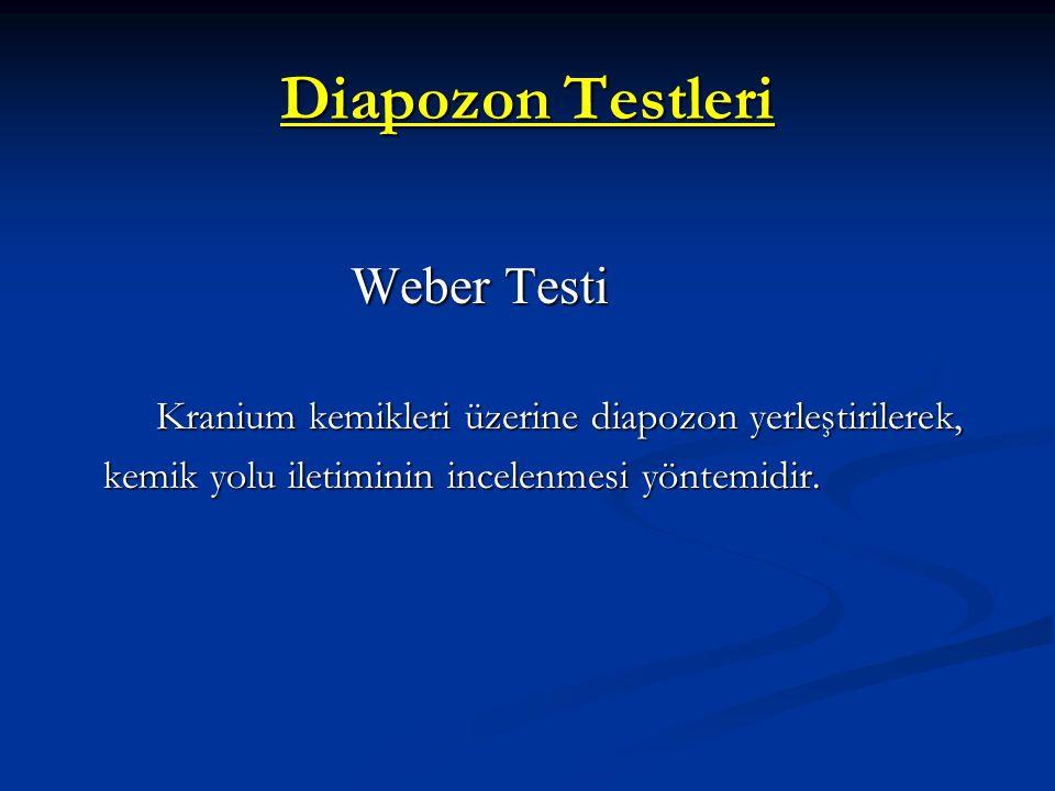 Diapozon Testleri Weber Testi Weber Testi Kranium kemikleri üzerine diapozon yerleştirilerek, kemik yolu iletiminin incelenmesi yöntemidir. Kranium ke