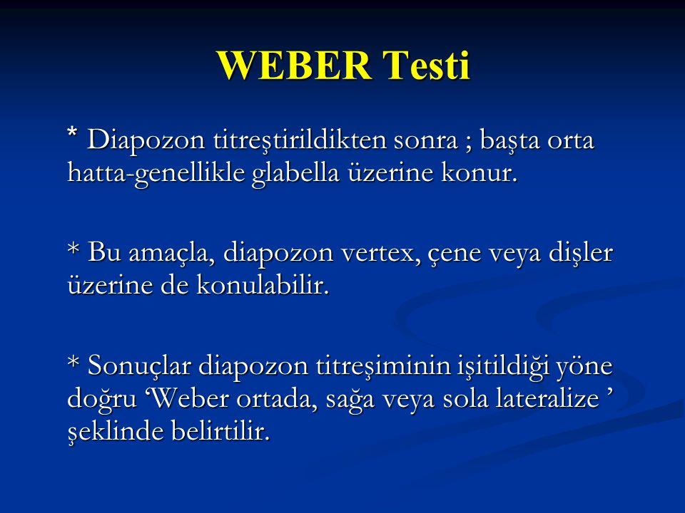 WEBER Testi * Diapozon titreştirildikten sonra ; başta orta hatta-genellikle glabella üzerine konur. * Diapozon titreştirildikten sonra ; başta orta h