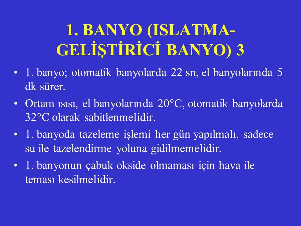1. BANYO (ISLATMA- GELİŞTİRİCİ BANYO) 2 •Sodyum karbonat, alkali ortam yaratarak pH'nın yüksek tutulmasını sağlar. •Solüsyonda tutucu olarak potasyum