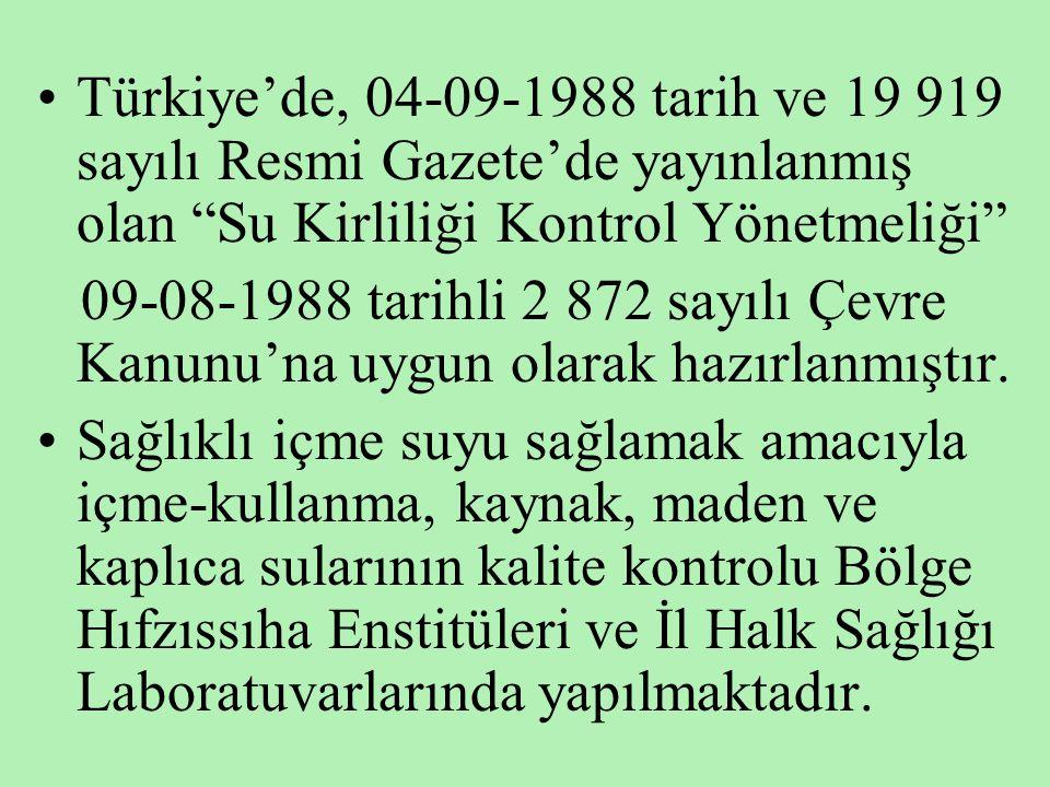 """•Türkiye'de, 04-09-1988 tarih ve 19 919 sayılı Resmi Gazete'de yayınlanmış olan """"Su Kirliliği Kontrol Yönetmeliği"""" 09-08-1988 tarihli 2 872 sayılı Çev"""