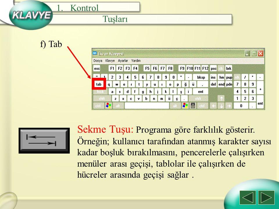 f) Tab Sekme Tuşu: Programa göre farklılık gösterir. Örneğin; kullanıcı tarafından atanmış karakter sayısı kadar boşluk bırakılmasını, pencerelerle ça