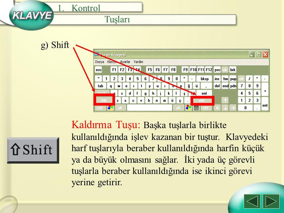 g) Shift Kaldırma Tuşu: Başka tuşlarla birlikte kullanıldığında işlev kazanan bir tuştur. Klavyedeki harf tuşlarıyla beraber kullanıldığında harfin kü