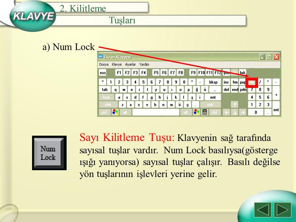 a) Num Lock Sayı Kilitleme Tuşu: Klavyenin sağ tarafında sayısal tuşlar vardır. Num Lock basılıysa(gösterge ışığı yanıyorsa) sayısal tuşlar çalışır. B