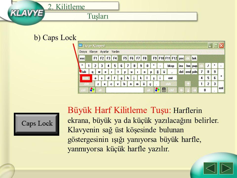 b) Caps Lock Büyük Harf Kilitleme Tuşu: Harflerin ekrana, büyük ya da küçük yazılacağını belirler. Klavyenin sağ üst köşesinde bulunan göstergesinin ı