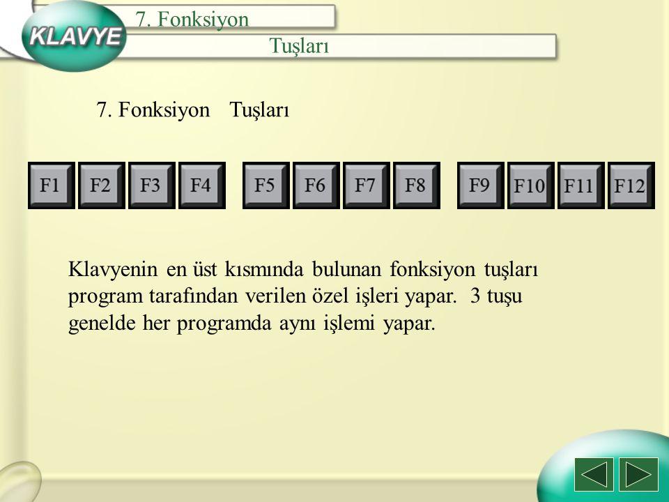7. Fonksiyon Tuşları 7. Fonksiyon Tuşları Klavyenin en üst kısmında bulunan fonksiyon tuşları program tarafından verilen özel işleri yapar. 3 tuşu gen