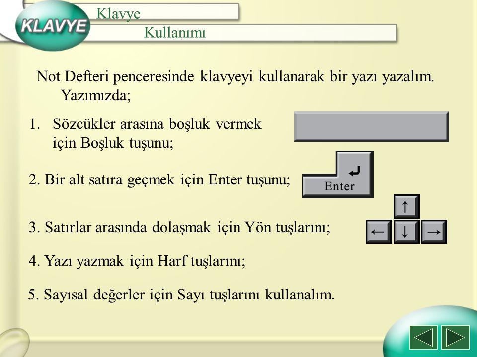 Not Defteri penceresinde klavyeyi kullanarak bir yazı yazalım. Yazımızda; Klavye Kullanımı 1.Sözcükler arasına boşluk vermek için Boşluk tuşunu; 2. Bi