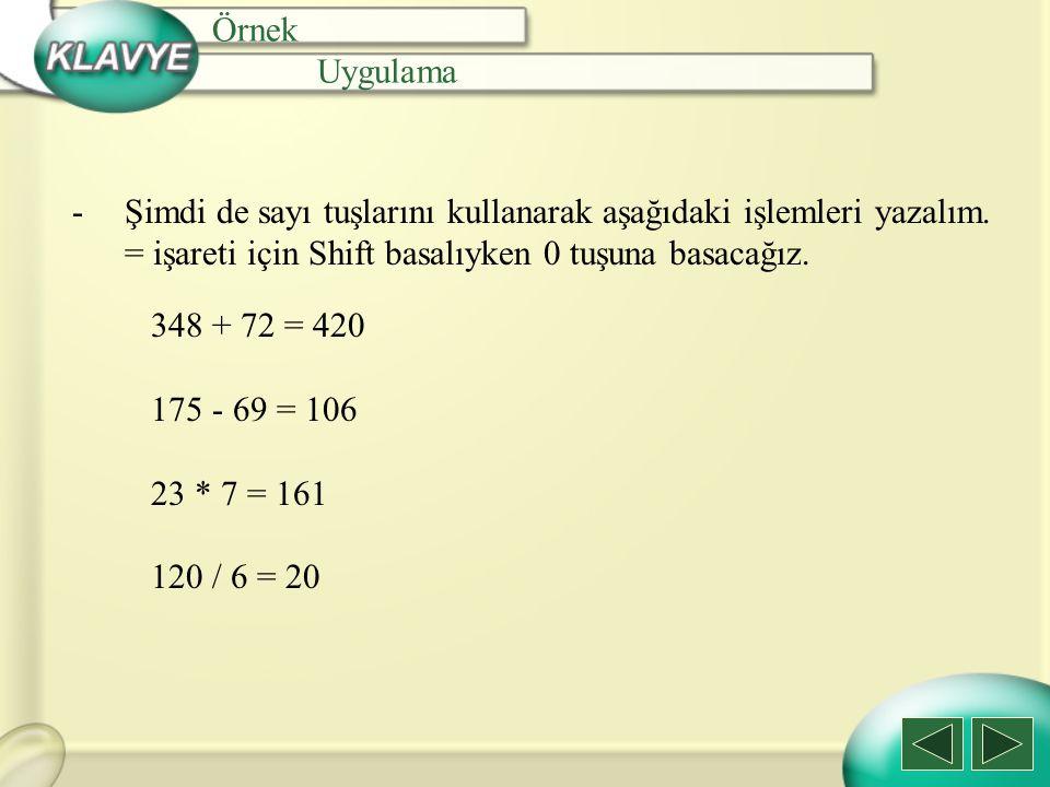 Örnek Uygulama -Şimdi de sayı tuşlarını kullanarak aşağıdaki işlemleri yazalım. = işareti için Shift basalıyken 0 tuşuna basacağız. 348 + 72 = 420 175