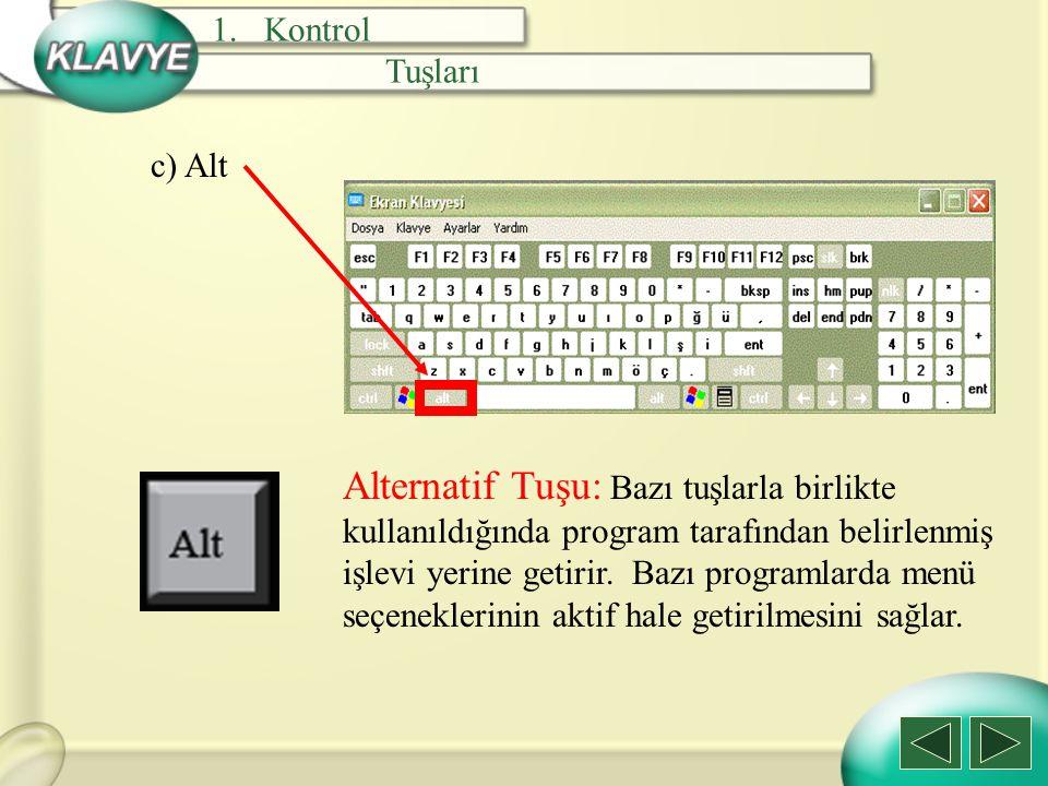 d) Alt Gr Alt Gr Tuşu: Üç görevli tuşların üçüncü görevlerini yerine getirmek için kullanılır.