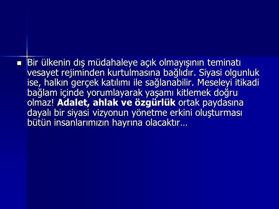  Türkiye siyaseti, kurulduğu ilk günden beri askeri vesayeti kabule uyumlu halde dizayn edilmişti. Askeri darbelerin suç kabul edilmesi bir tarafa; s