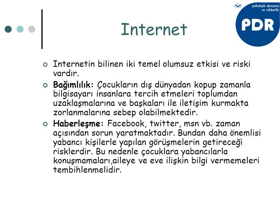 Internet Internetin bilinen iki temel olumsuz etkisi ve riski vardır. Bağımlılık: Çocukların dış dünyadan kopup zamanla bilgisayarı insanlara tercih e