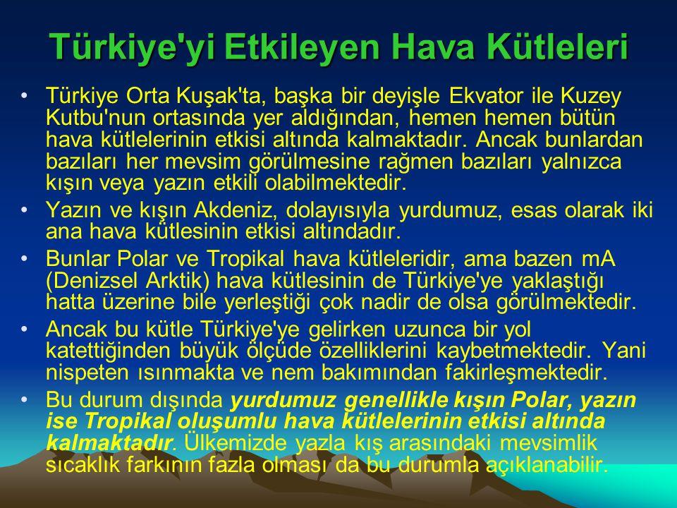 Türkiye'yi Etkileyen Hava Kütleleri •Türkiye Orta Kuşak'ta, başka bir deyişle Ekvator ile Kuzey Kutbu'nun ortasında yer aldığından, hemen hemen bütün