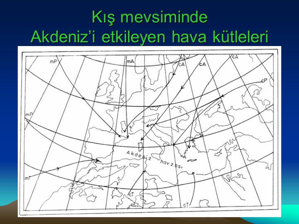 Kış mevsiminde Akdeniz'i etkileyen hava kütleleri