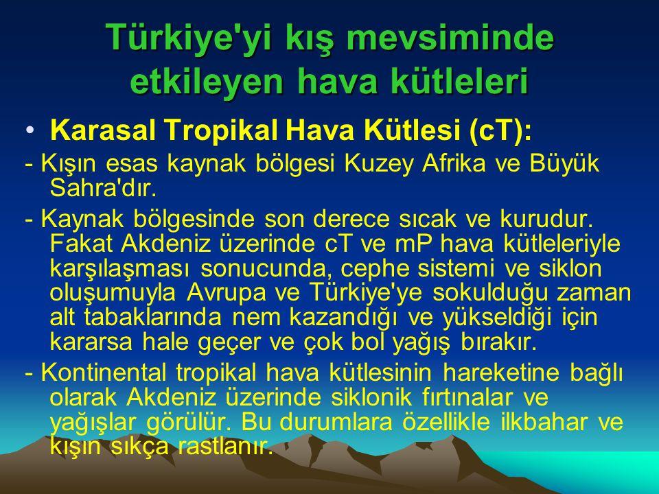 Türkiye'yi kış mevsiminde etkileyen hava kütleleri •Karasal Tropikal Hava Kütlesi (cT): - Kışın esas kaynak bölgesi Kuzey Afrika ve Büyük Sahra'dır. -