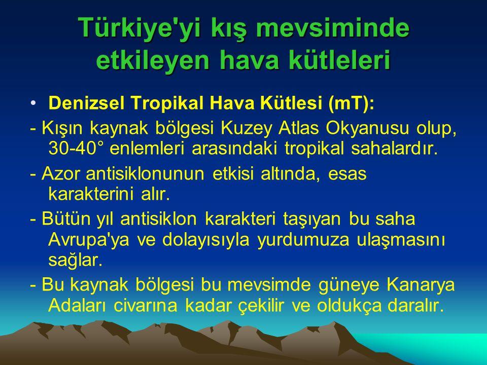 Türkiye'yi kış mevsiminde etkileyen hava kütleleri •Denizsel Tropikal Hava Kütlesi (mT): - Kışın kaynak bölgesi Kuzey Atlas Okyanusu olup, 30-40° enle