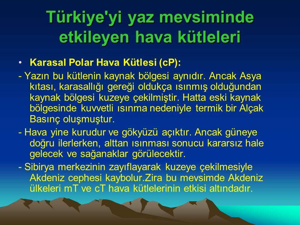 Türkiye'yi yaz mevsiminde etkileyen hava kütleleri •Karasal Polar Hava Kütlesi (cP): - Yazın bu kütlenin kaynak bölgesi aynıdır. Ancak Asya kıtası, ka