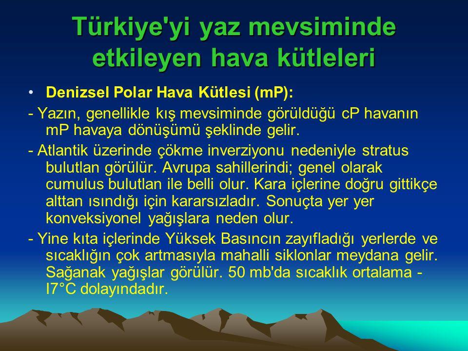 Türkiye'yi yaz mevsiminde etkileyen hava kütleleri •Denizsel Polar Hava Kütlesi (mP): - Yazın, genellikle kış mevsiminde görüldüğü cP havanın mP havay