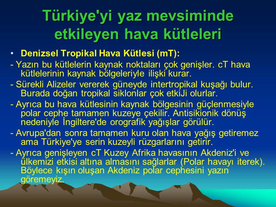 Türkiye'yi yaz mevsiminde etkileyen hava kütleleri •Denizsel Tropikal Hava Kütlesi (mT): - Yazın bu kütlelerin kaynak noktaları çok genişler. cT hava