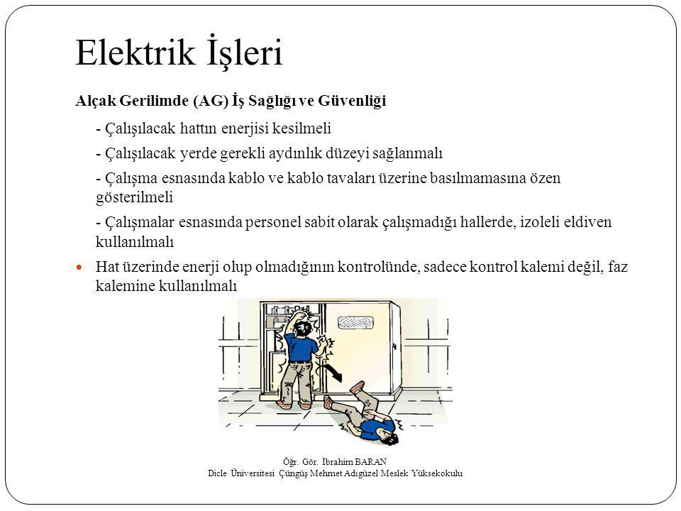 Elektrik İşleri Alçak Gerilimde (AG) İş Sağlığı ve Güvenliği - Çalışılacak hattın enerjisi kesilmeli - Çalışılacak yerde gerekli aydınlık düzeyi sağla