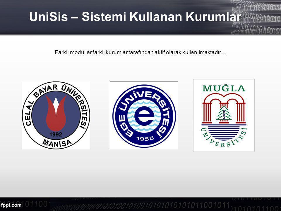 UniSis – Sistemi Kullanan Kurumlar Farklı modüller farklı kurumlar tarafından aktif olarak kullanılmaktadır …