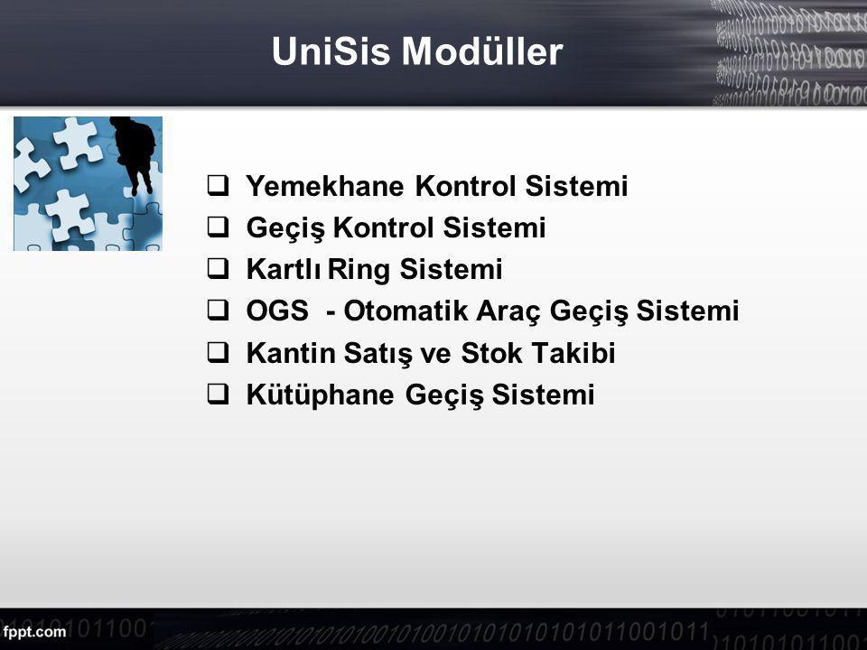 UniSis Modüller  Yemekhane Kontrol Sistemi  Geçiş Kontrol Sistemi  Kartlı Ring Sistemi  OGS - Otomatik Araç Geçiş Sistemi  Kantin Satış ve Stok Takibi  Kütüphane Geçiş Sistemi