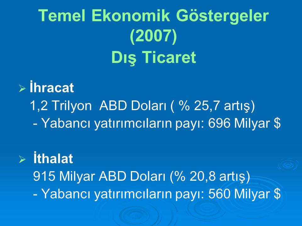 Temel Ekonomik Göstergeler (2007) Dış Ticaret   İhracat 1,2 Trilyon ABD Doları ( % 25,7 artış) - Yabancı yatırımcıların payı: 696 Milyar $   İthalat 915 Milyar ABD Doları (% 20,8 artış) - Yabancı yatırımcıların payı: 560 Milyar $
