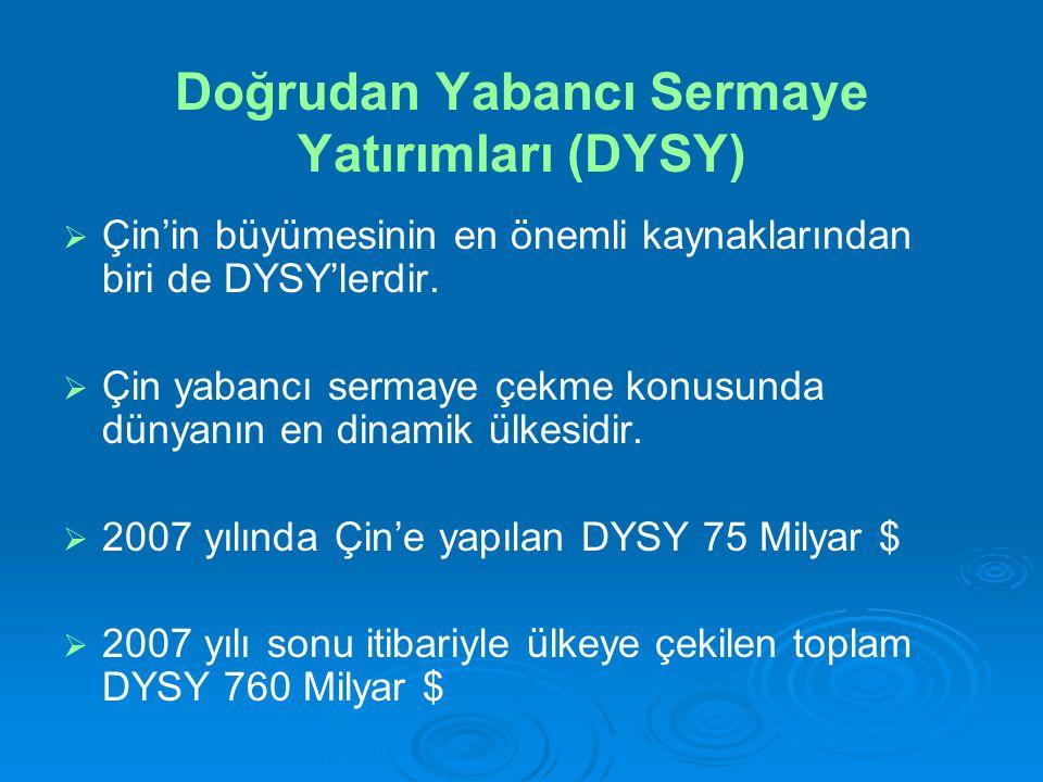 Doğrudan Yabancı Sermaye Yatırımları (DYSY)   Çin'in büyümesinin en önemli kaynaklarından biri de DYSY'lerdir.