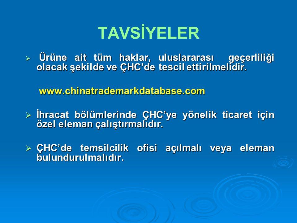 TAVSİYELER  Ürüne ait tüm haklar, uluslararası geçerliliği olacak şekilde ve ÇHC'de tescil ettirilmelidir.
