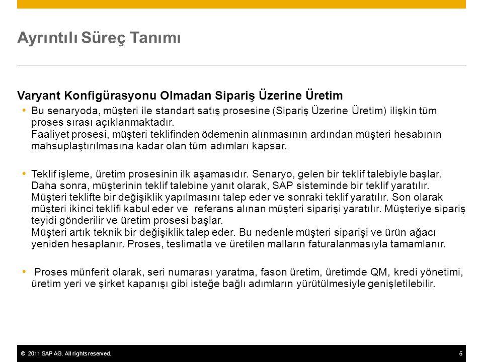©2011 SAP AG. All rights reserved.5 Ayrıntılı Süreç Tanımı Varyant Konfigürasyonu Olmadan Sipariş Üzerine Üretim  Bu senaryoda, müşteri ile standart