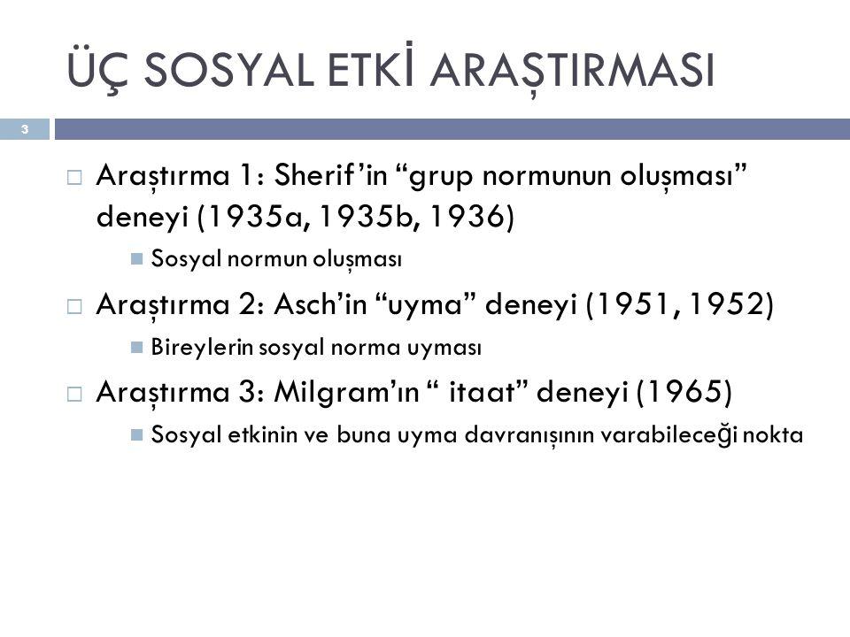 """ÜÇ SOSYAL ETK İ ARAŞTIRMASI  Araştırma 1: Sherif'in """"grup normunun oluşması"""" deneyi (1935a, 1935b, 1936)  Sosyal normun oluşması  Araştırma 2: Asch"""