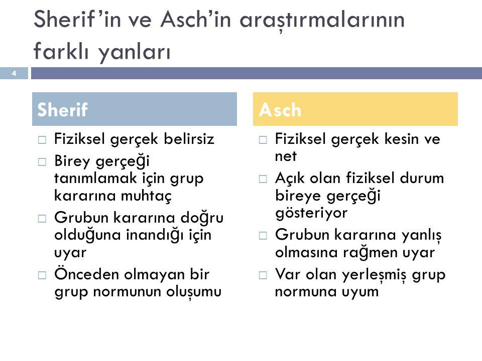 Sherif'in ve Asch'in araştırmalarının farklı yanları  Fiziksel gerçek belirsiz  Birey gerçe ğ i tanımlamak için grup kararına muhtaç  Grubun kararı
