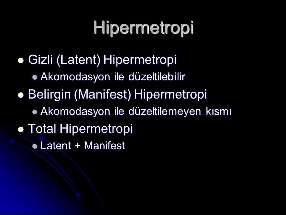 Hipermetropi  Gizli (Latent) Hipermetropi  Akomodasyon ile düzeltilebilir  Belirgin (Manifest) Hipermetropi  Akomodasyon ile düzeltilemeyen kısmı  Total Hipermetropi  Latent + Manifest