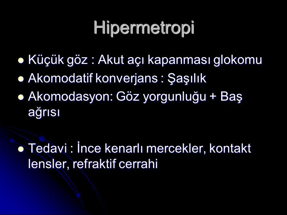 Hipermetropi  Küçük göz : Akut açı kapanması glokomu  Akomodatif konverjans : Şaşılık  Akomodasyon: Göz yorgunluğu + Baş ağrısı  Tedavi : İnce kenarlı mercekler, kontakt lensler, refraktif cerrahi