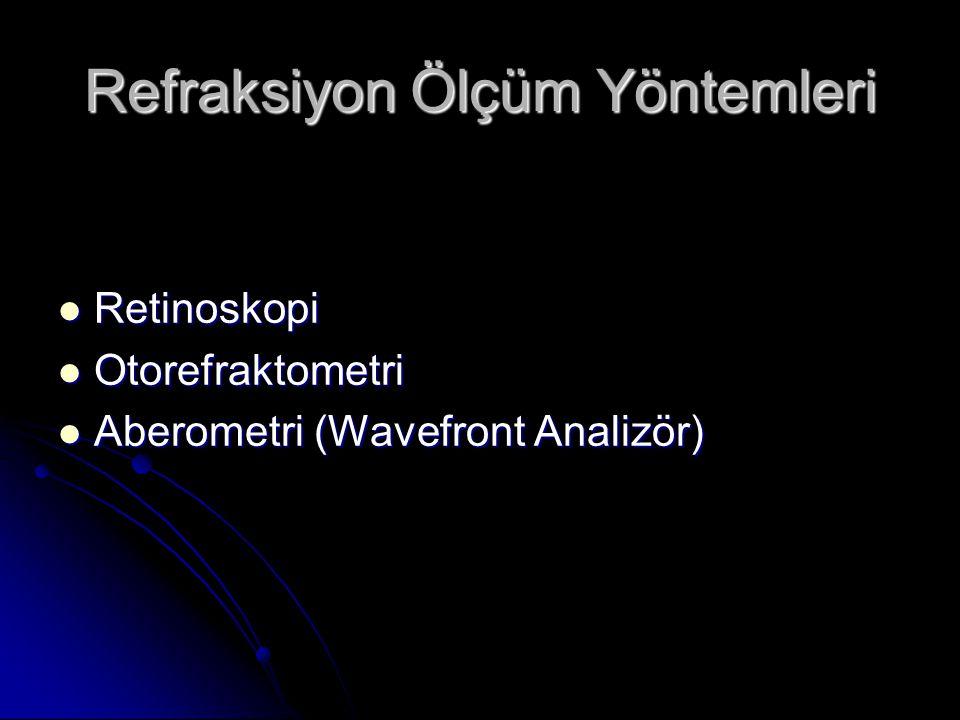 Refraksiyon Ölçüm Yöntemleri  Retinoskopi  Otorefraktometri  Aberometri (Wavefront Analizör)