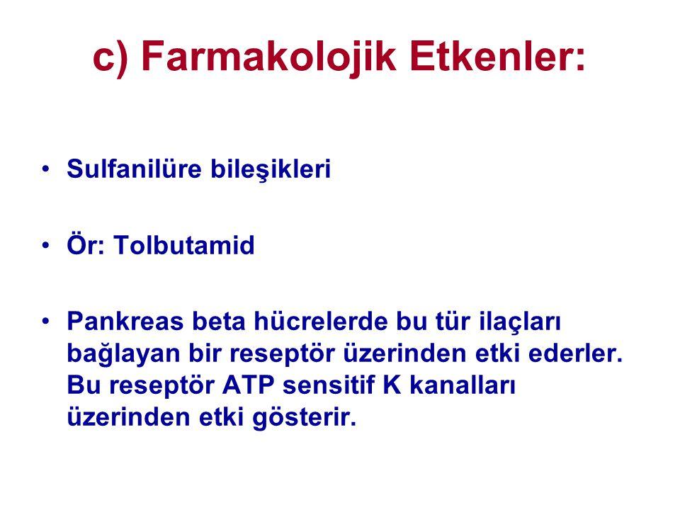 c) Farmakolojik Etkenler: •Sulfanilüre bileşikleri •Ör: Tolbutamid •Pankreas beta hücrelerde bu tür ilaçları bağlayan bir reseptör üzerinden etki eder