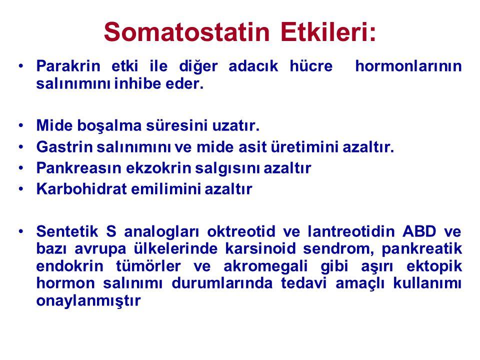 Somatostatin Etkileri: •Parakrin etki ile diğer adacık hücre hormonlarının salınımını inhibe eder. •Mide boşalma süresini uzatır. •Gastrin salınımını
