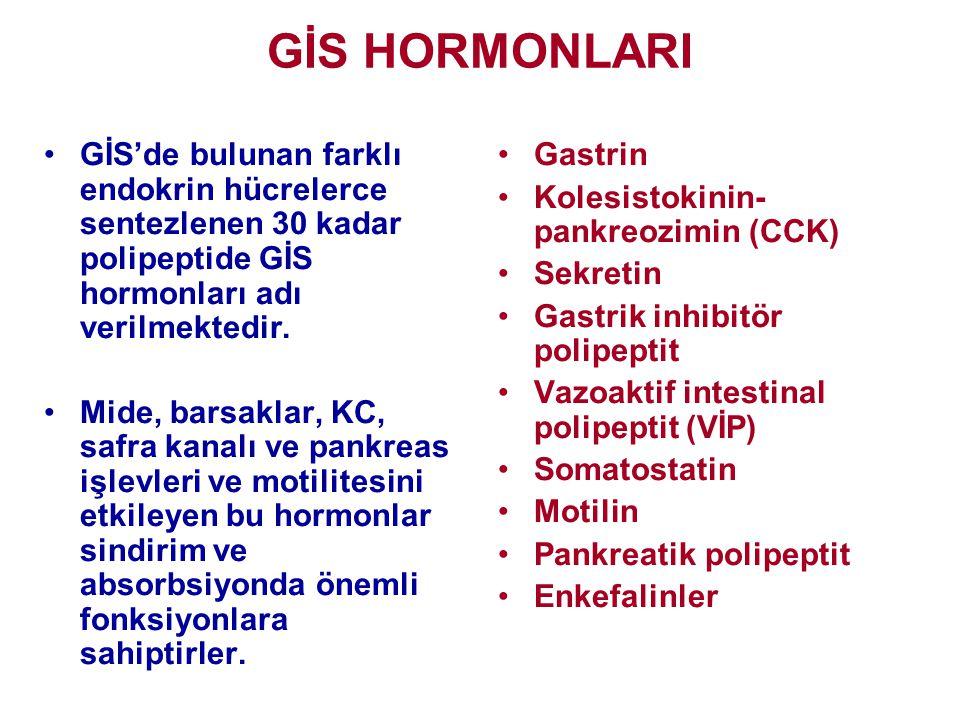 GİS HORMONLARI •GİS'de bulunan farklı endokrin hücrelerce sentezlenen 30 kadar polipeptide GİS hormonları adı verilmektedir. •Mide, barsaklar, KC, saf