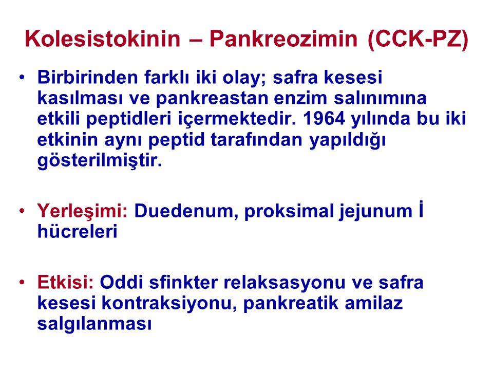 Kolesistokinin – Pankreozimin (CCK-PZ) •Birbirinden farklı iki olay; safra kesesi kasılması ve pankreastan enzim salınımına etkili peptidleri içermekt