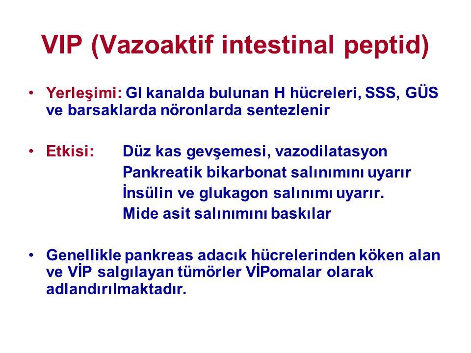VIP (Vazoaktif intestinal peptid) •Yerleşimi: GI kanalda bulunan H hücreleri, SSS, GÜS ve barsaklarda nöronlarda sentezlenir •Etkisi: Düz kas gevşemes