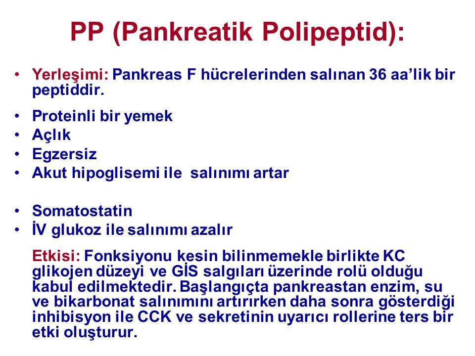 PP (Pankreatik Polipeptid): •Yerleşimi: Pankreas F hücrelerinden salınan 36 aa'lik bir peptiddir. •Proteinli bir yemek •Açlık •Egzersiz •Akut hipoglis