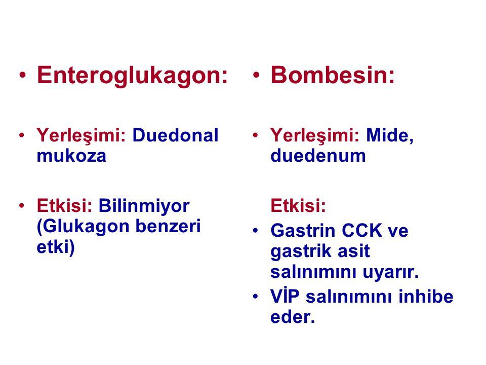 •Enteroglukagon: •Yerleşimi: Duedonal mukoza •Etkisi: Bilinmiyor (Glukagon benzeri etki) •Bombesin: •Yerleşimi: Mide, duedenum Etkisi: •Gastrin CCK ve