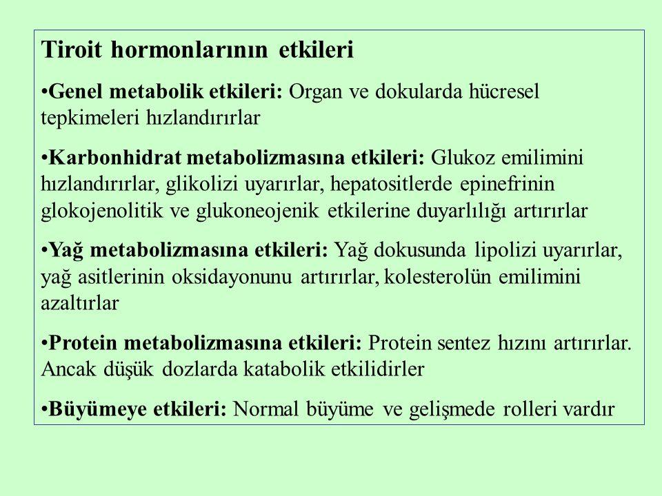 Tiroit hormonlarının etkileri •Genel metabolik etkileri: Organ ve dokularda hücresel tepkimeleri hızlandırırlar •Karbonhidrat metabolizmasına etkileri