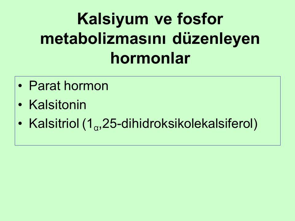 Kalsiyum ve fosfor metabolizmasını düzenleyen hormonlar •Parat hormon •Kalsitonin •Kalsitriol (1 α,25-dihidroksikolekalsiferol)