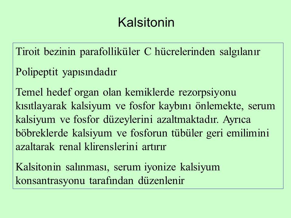 Kalsitonin Tiroit bezinin parafolliküler C hücrelerinden salgılanır Polipeptit yapısındadır Temel hedef organ olan kemiklerde rezorpsiyonu kısıtlayara