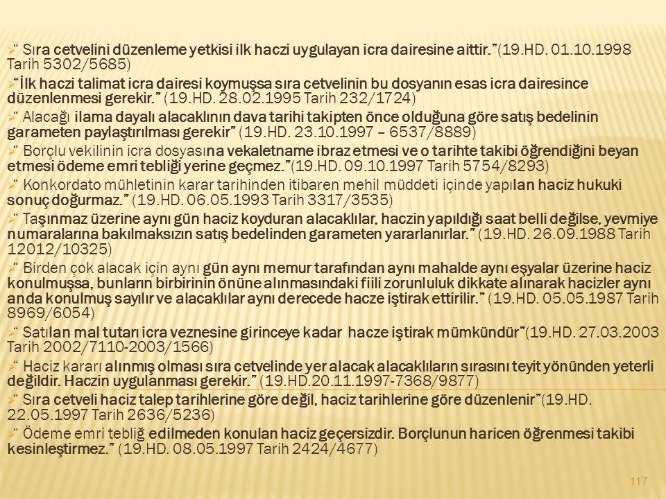 """ """" Sıra cetvelini düzenleme yetkisi ilk haczi uygulayan icra dairesine aittir.""""(19.HD. 01.10.1998 Tarih 5302/5685)  """"İlk haczi talimat icra dairesi"""