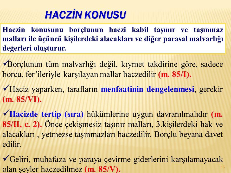 HACZİN KONUSU 16 (m.85/I).