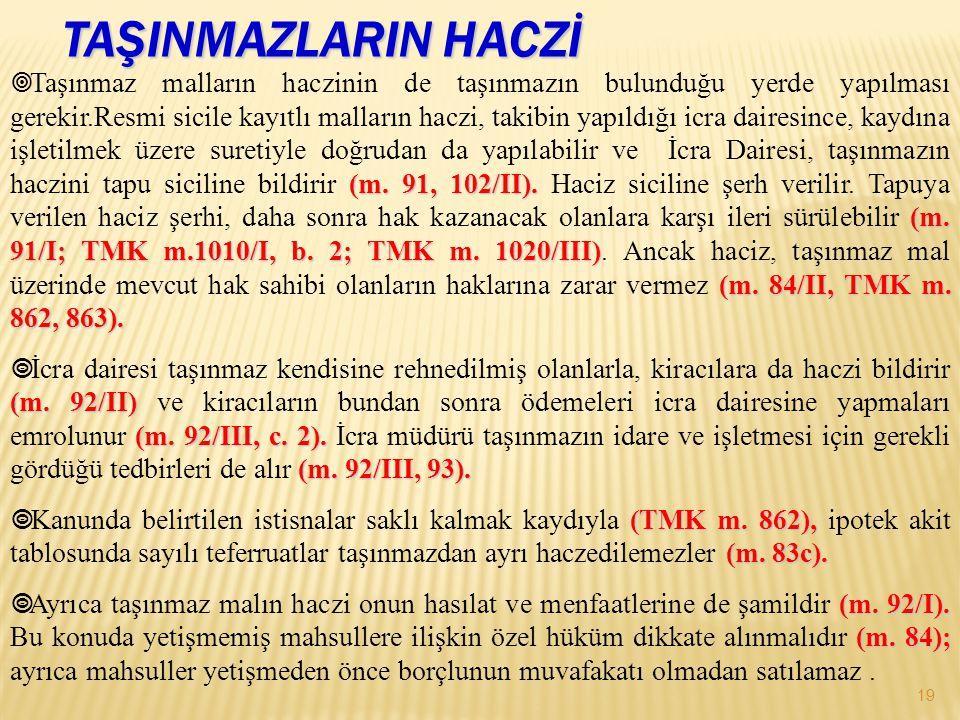 TAŞINMAZLARIN HACZİ 19 (m. 91, 102/II). (m. 91/I; TMK m.1010/I, b. 2; TMK m. 1020/III) (m. 84/II, TMK m. 862, 863).  Taşınmaz malların haczinin de ta